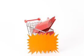 picture of caddy  - Caddy for shopping with gift on white background - JPG