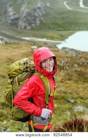 Hiker woman hiking with backpack