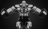 Illustration bodybuilder with dumbbell