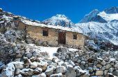 Stone cabin in the mountain, Nepal Himalaya