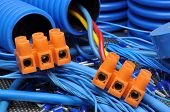 Blue cables and electrical component