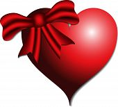 3D Red Heart With Ribbon