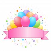 stock photo of confetti  - Bunch of colorful balloons with cute banner and confetti clipart isolated on white background - JPG