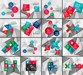 Set of business geometric option steps infographics. Color glossy shapes - buttons with numbers, letters and icons