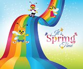 stock photo of bee cartoon  - Spring time card with cartoon bee characters sliding down rainbow - JPG