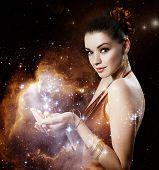 Beautiful Young Woman - Gold Portrait