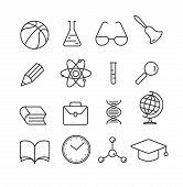 Education Linear Flat Icons Set.