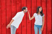 Brunette uninterested in mans advances against red wooden planks