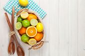 picture of orange-juice  - Citrus fruits in basket - JPG