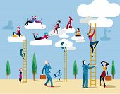 image of step-ladder  - Men and women go up heaven by a ladders to access the cloud from which they work online and share information and knowledge - JPG