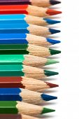 Beautiful colored pencils on a white background