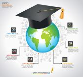 Concept modern education. Teacher cap and globe surrounded by icons of education, text, numbers. Education infographic Template. The file is saved in the version AI10 EPS.