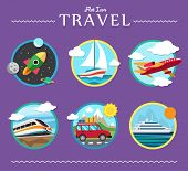 Icons set of traveling, planning a summer vacation, tourism and journey objects, hitchhiking and pas
