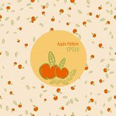 Vector seamless apple pattern in warm colors doodle style