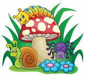 Toadstool with small animals - eps10 vector illustration.