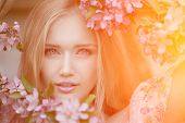 Постер, плакат: Young spring fashion woman in spring garden Springtime Trendy girl at sunset in spring landscape