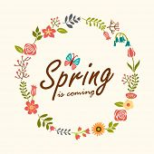 Spring design background with leaves and flowers