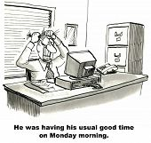 picture of morning  - Cartoon of businessman at his computer and desk pulling his hair out - JPG