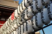 Rows Of Japanese Paper Lanterns In Front Of Temple