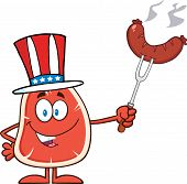 American Steak Cartoon Mascot Character Holding Up A Sausage