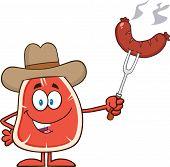 Cowboy Steak Cartoon Mascot Character Holding Up A Sausage