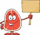 Steak Cartoon Mascot Character Holding A Blank Wooden Sign