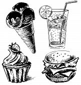 Fast food and desserts sketch collection.