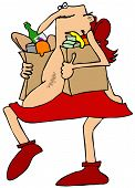 Cupid carrying groceries