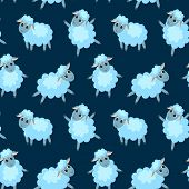 Seamless Pattern With Happy Sheep On The Blue