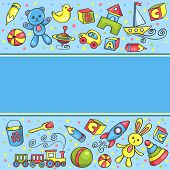 Card With Children Toys Blue