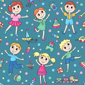 Seamless Pattern With Happy Children