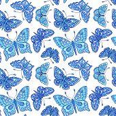 Seamles Pattern With Blue Batterflies