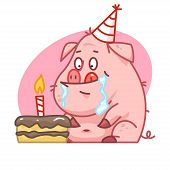 Pig character looks at cake