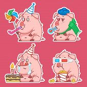 Pig character stickers concept set 1