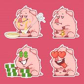 Pig character stickers concept set 2