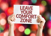 Leave Your Comfort Zone card with colorful background with defocused lights