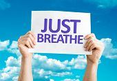 Just Breathe card with sky background