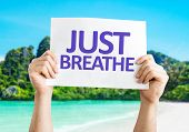 Just Breathe card with beach background