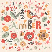 Bright card with beautiful name Amber in poppy flowers, bees and butterflies. Awesome female name design in bright colors. Tremendous vector background for fabulous designs