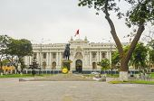 LIMA, PERU, MAY 24, 2014: Congress Palace of the Republic of Peru. The statue shows the libertador Simon Bolivar on his horse.