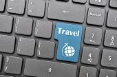 Blue travel key on keyboard