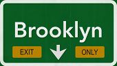 Brooklyn USA Interstate Exit Only Highway Sign Illustration