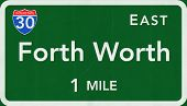 Forth Worth USA Interstate Highway Sign