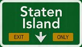 Staten Island USA Interstate Exit Only Highway Sign