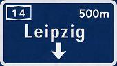 stock photo of leipzig  - Leipzig Germany Highway Road Sign Photo Realistic Illustration - JPG