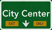 City Center Highway Road Sign Exit Only