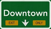 Downtown Highway Road Sign Exit Only