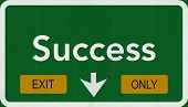 Success Highway Road Sign Exit Only