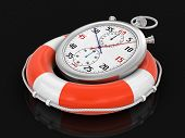 Stopwatch and lifebuoy (clipping path included)