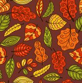 Hand-drawn Seamless Pattern With Leaves